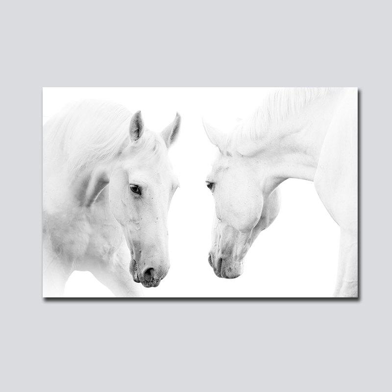 QiaoJiaHuaYuan No Frame Toile Nordique Vent Simple Cheval Blanc Salon Décoration Imprimer - multicolorcolore 60CM X 90CM