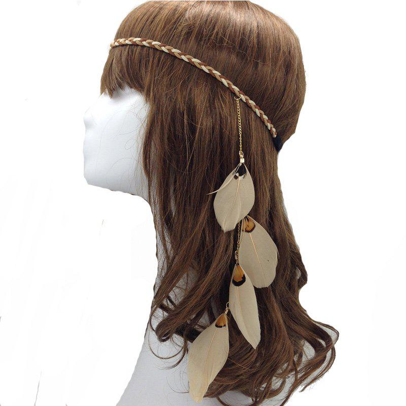 Original Handmade Feather Hair Accessories Indian Feather Jewelry - KHAKI