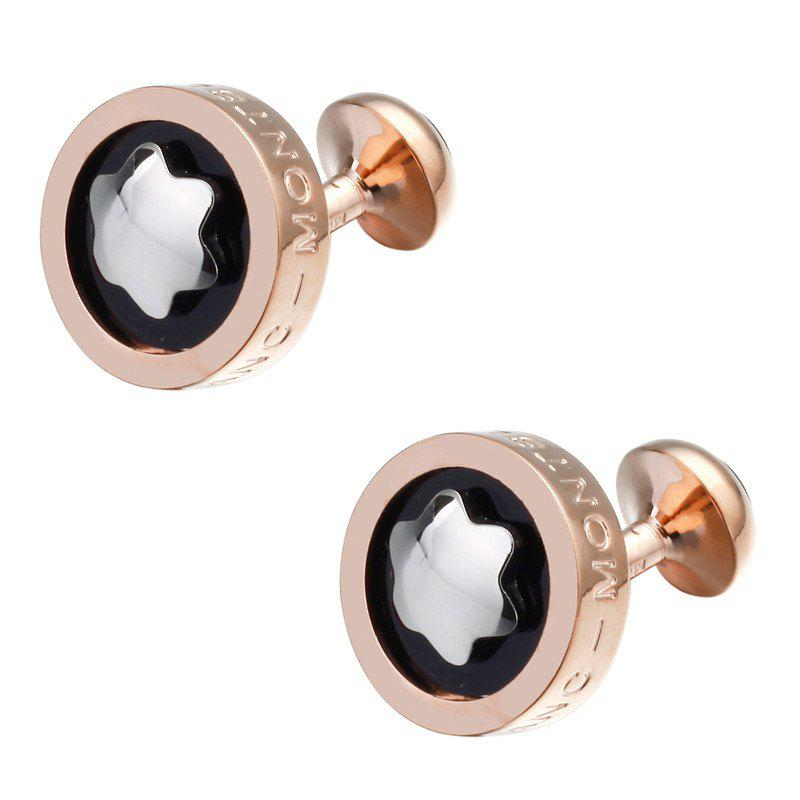 Men's Cufflinks Alloy High Quality Fine All Match Cufflinks Accessory - BLACK / GOLDEN