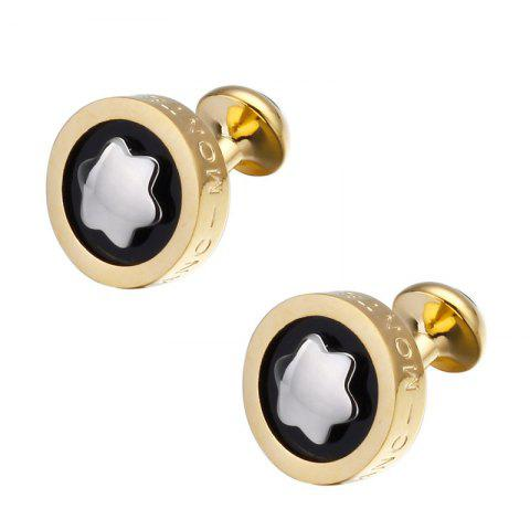 Men's Snowflake French Cufflinks Accessory - BLACK/GOLD/GREY