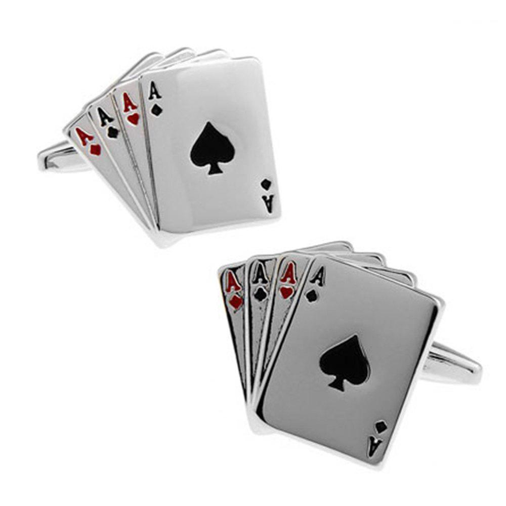 Men's Poker 4A Pattern Stylish Shirt Accessory Cufflinks - BLACK / SILVER