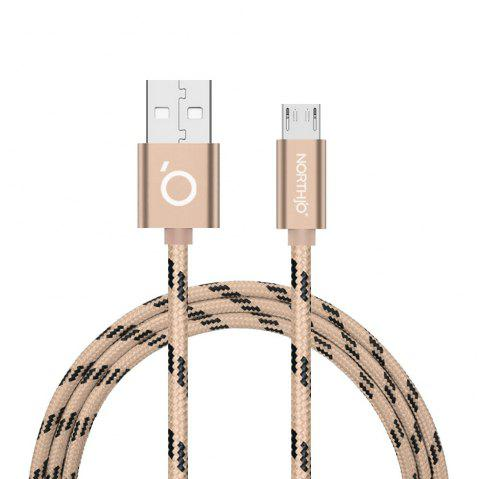NORTHJO Micro USB Charger Data Cable for Android Mobile Phone - 1M - GOLDEN