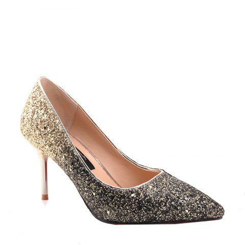 2017 New All-match Sequins Gradient Fine Pointed High-heeled Shoes Banquet - BLACK GOLD 34