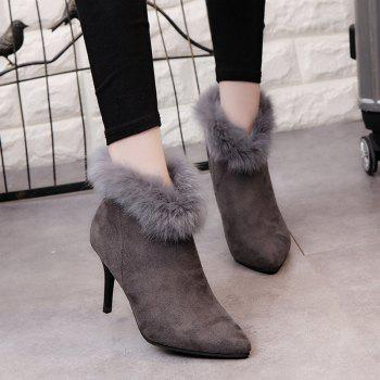 New Autumn and Winter All-match Pointed To Fine Cashmere Suede Boot - GRAY GRAY