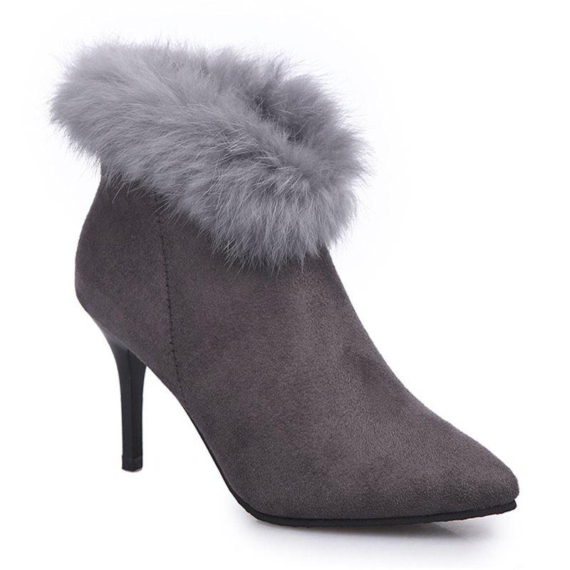 New Autumn and Winter All-match Pointed To Fine Cashmere Suede Boot - GRAY 37