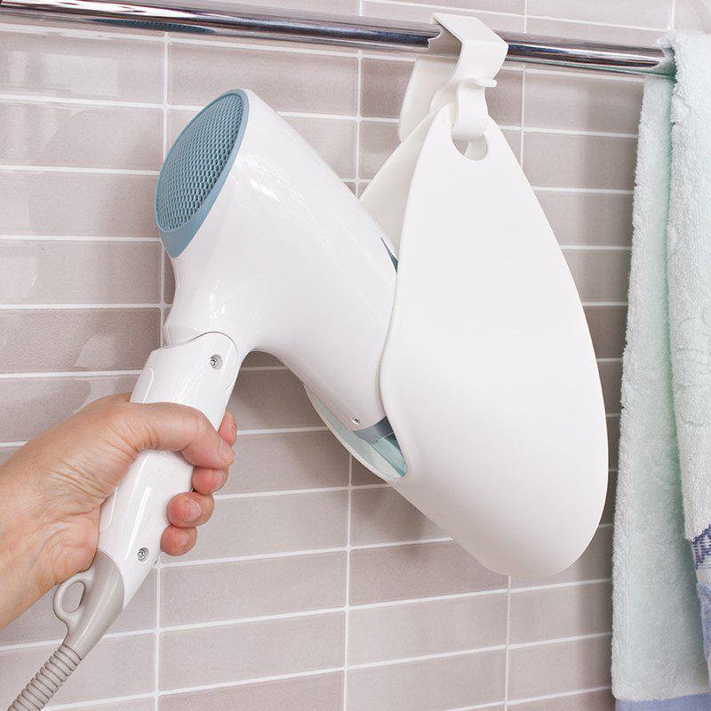 Bathroom Storage and Rack Wall Mounted Hair Dryer Holder - WHITE