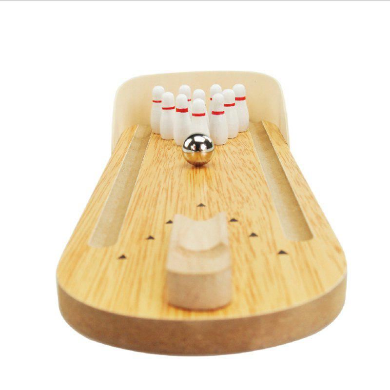 Wooden Mini Bowling Metal Pin Ball Desktop Game Toy for Kid simulation mini golf course display toy set with golf club ball flag