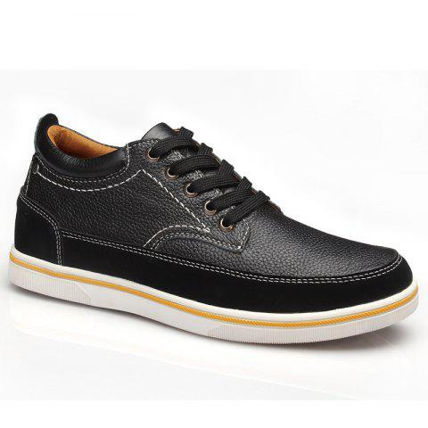 Leather Increased Casual Shoes - BLACK 43