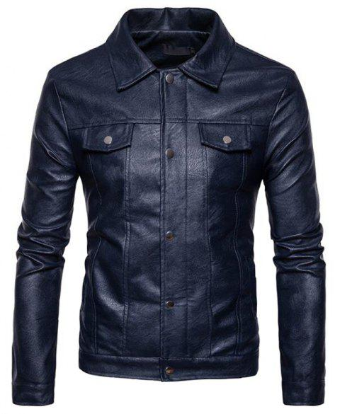 Men's Casual Shirt Collar Long Sleeve Regular PU Coat Leather Jacket - CADETBLUE 2XL