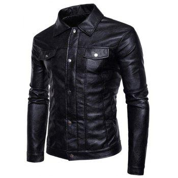 Men's Casual Shirt Collar Long Sleeve Regular PU Coat Leather Jacket - BLACK L