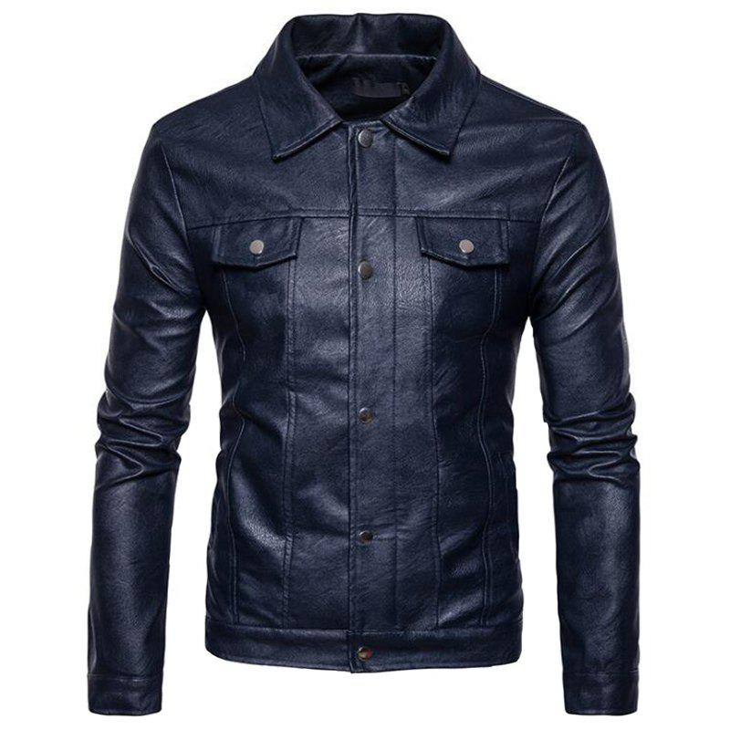 Men's Casual Shirt Collar Long Sleeve Regular PU Coat Leather Jacket - CADETBLUE M