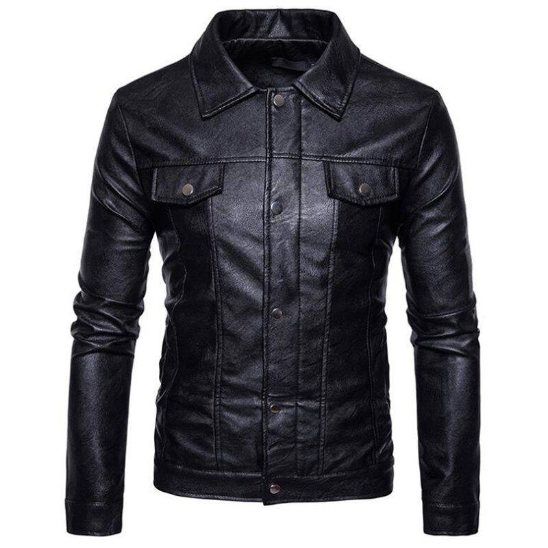 Men's Casual Shirt Collar Long Sleeve Regular PU Coat Leather Jacket - BLACK M