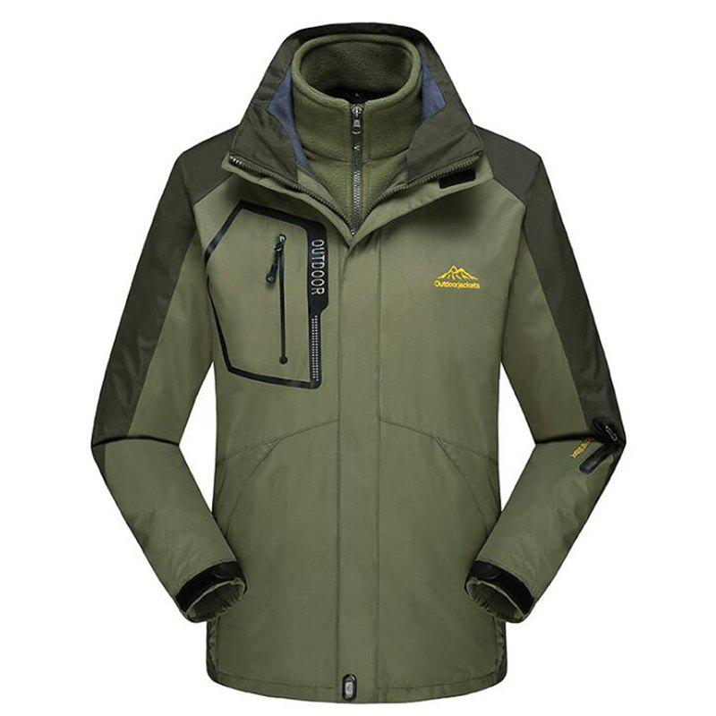 Men Plus Size Triple Windproof Rain-Proof Waterproof Jacket Coat - ARMYGREEN L