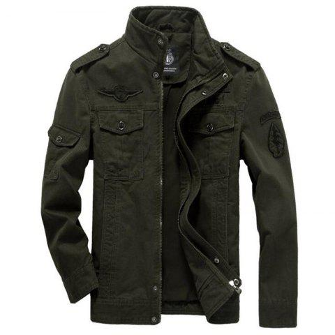 Men's Casual Daily Simple Winter Jacket Solid Stand Long Sleeve - ARMYGREEN L