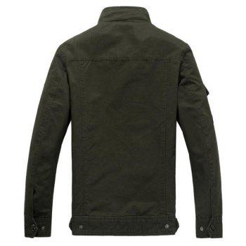 Men's Casual Daily Simple Winter Jacket Solid Stand Long Sleeve - ARMYGREEN M