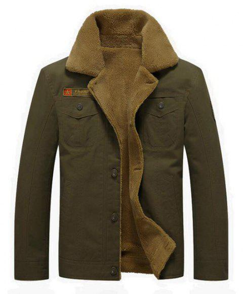 Men's Casual Daily Simple Fall Winter Fleece Jacket Solid Stand Long Sleeve Coat - ARMYGREEN M