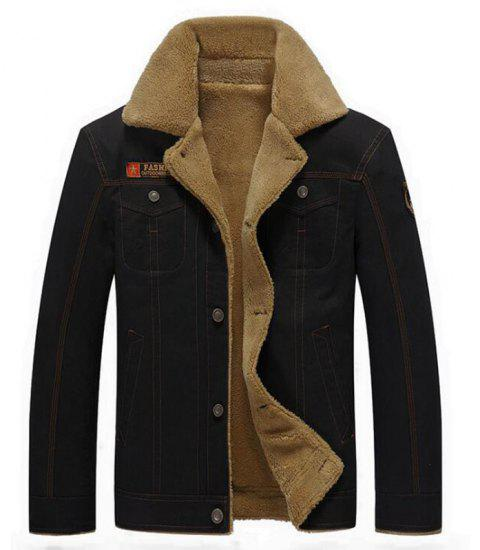 Men's Casual Daily Simple Fall Winter Fleece Jacket Solid Stand Long Sleeve Coat - BLACK L