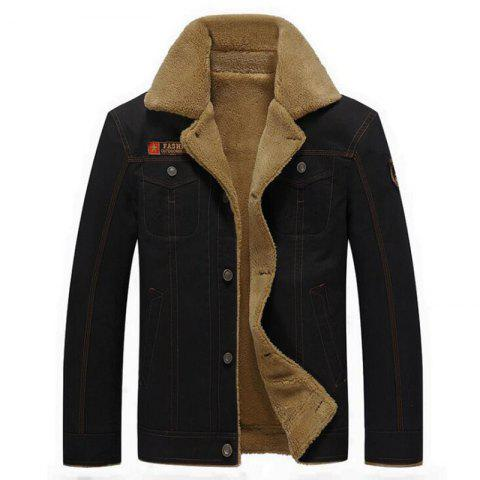 Men's Casual Daily Simple Fall Winter Fleece Jacket Solid Stand Long Sleeve Coat - BLACK 2XL