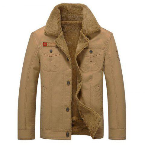 Men's Casual Daily Simple Fall Winter Fleece Jacket Solid Stand Long Sleeve Coat - KHAKI XL