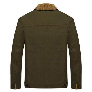 Men's Casual Daily Simple Fall Winter Fleece Jacket Solid Stand Long Sleeve Coat - ARMYGREEN L