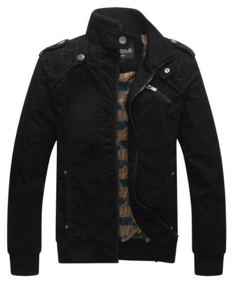 Men Casual Daily Stand Long Sleeve Plus Size Jacket Coat - BLACK XL