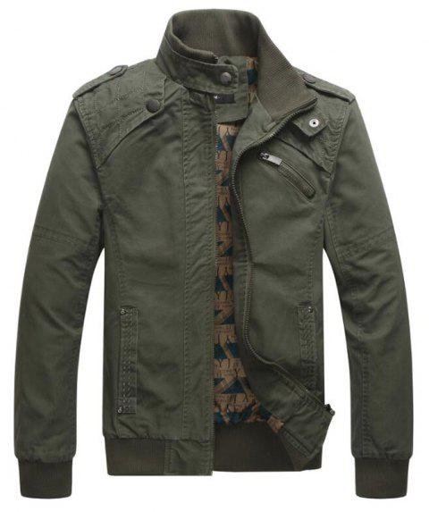 Men Casual Daily Stand Long Sleeve Plus Size Jacket Coat - ARMYGREEN L