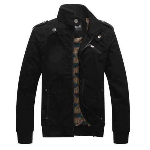 Men Casual Daily Stand Long Sleeve Plus Size Jacket Coat - BLACK L