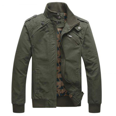 Men Casual Daily Stand Long Sleeve Plus Size Jacket Coat - ARMYGREEN M
