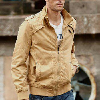 Men Casual Daily Stand Long Sleeve Plus Size Jacket Coat - KHAKI 3XL