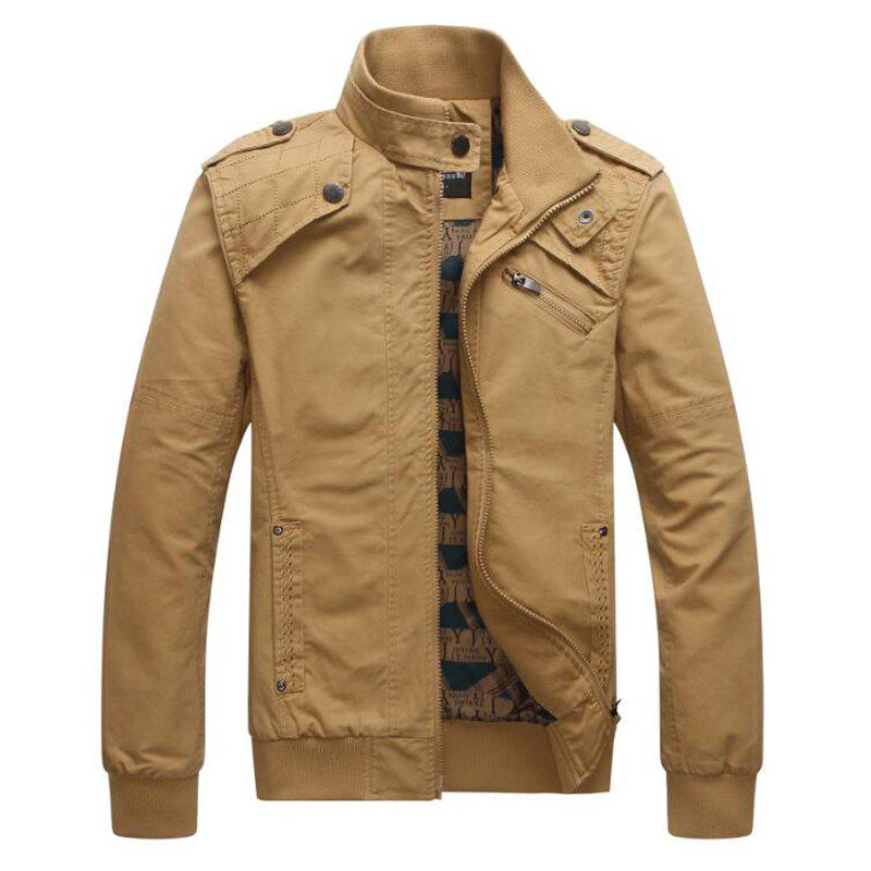 Men Casual Daily Stand Long Sleeve Plus Size Jacket Coat - KHAKI M