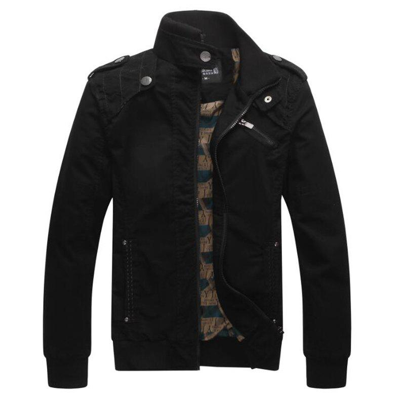Men Casual Daily Stand Long Sleeve Plus Size Jacket Coat - BLACK M