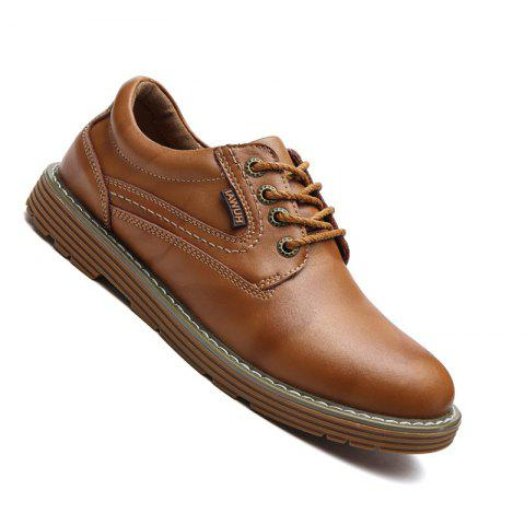 Men Stylish Casual Leather Shoes Lace Up - BROWN 42