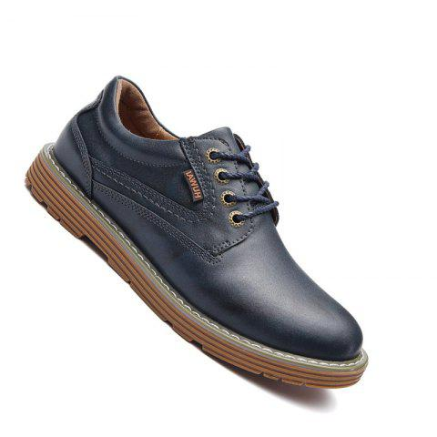 Men Stylish Casual Leather Shoes Lace Up - BLUE 42