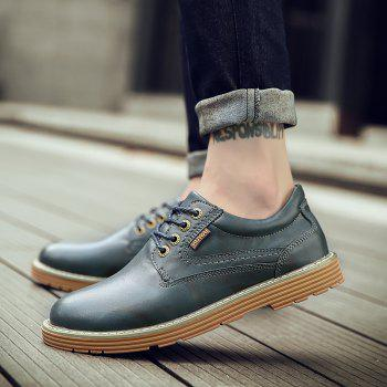 Men Casual Trend of Fashion Rubber Outdoor Leather Lace Up Shoes - BLUE BLUE