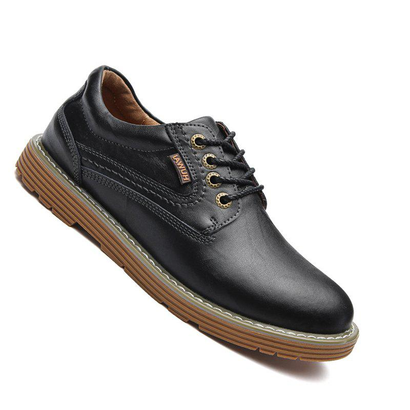 Men Stylish Casual Leather Shoes Lace Up - BLACK 43