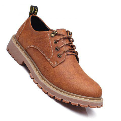 Men Casual Trend of Fashion Outdoor Rubber Leather Lace Up Shoes - YELLOW 42
