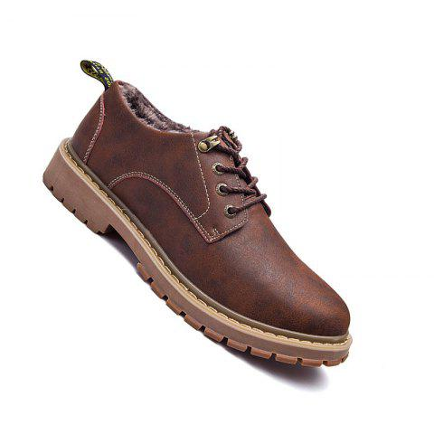 Men Casual Trend of Fashion Outdoor Rubber Leather Suede Lace Up Shoes - BROWN 37