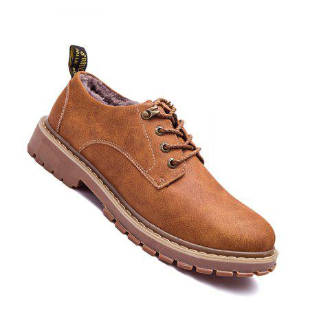 Men Casual Trend of Fashion Outdoor Rubber Leather Suede Lace Up Shoes - YELLOW 42