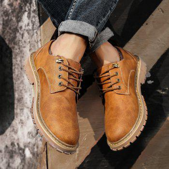 Men Casual Trend of Fashion Outdoor Rubber Leather Suede Lace Up Shoes - YELLOW YELLOW