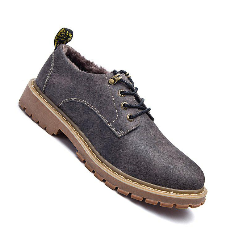 Men Casual Trend of Fashion Outdoor Rubber Leather Suede Lace Up Shoes - GRAY 37