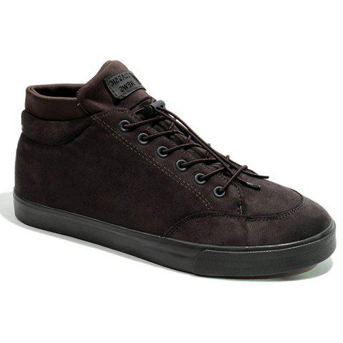 Men Breathable Outdoor Sneakers Warm Tourism High Top Soft Shoes - BROWN 43