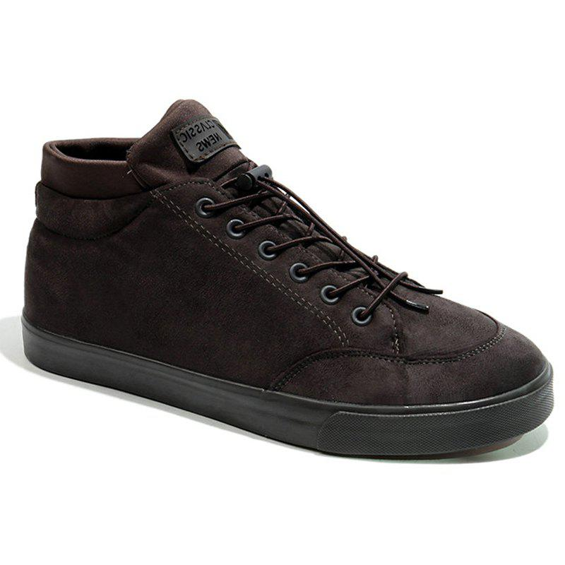 Men Breathable Outdoor Sneakers Warm Tourism High Top Soft Shoes - BROWN 44