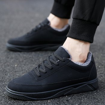 Men Casual Warm Sneakers Breathable Classics Style Shoes - BLACK BLACK