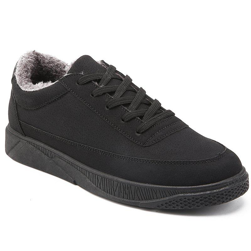 Men Casual Warm Sneakers Breathable Classics Style Shoes - BLACK 44