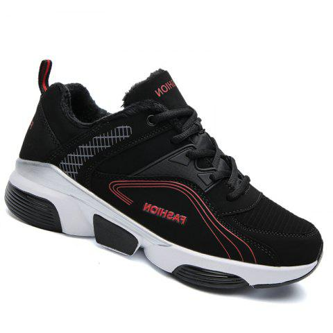 Men Outdoor Casual Warm Sneakers Breathable Classics Style Sport Shoes - BLACK/RED 44