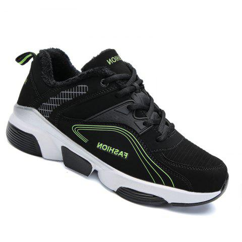 Men Outdoor Casual Warm Sneakers Breathable Classics Style Sport Shoes - BLACK / FLUORESCENT YELLOW 42