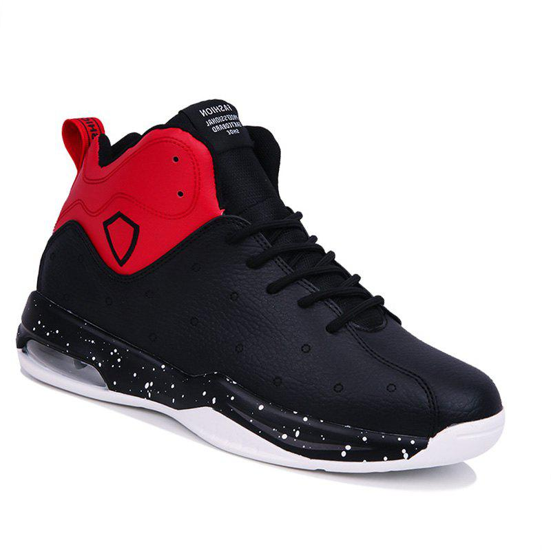 Men Basketball Casual Warm Sneakers Breathable Classics Style Sport Shoes - BLACK/RED 42