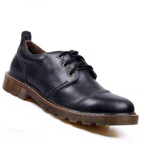 Men Leather Warm Casual Sneakers Breathable Classics Style Sport Shoes - BLACK 39