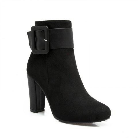Round Head High Heel Short Boots - BLACK 35