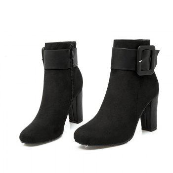 Round Head High Heel Short Boots - BLACK BLACK